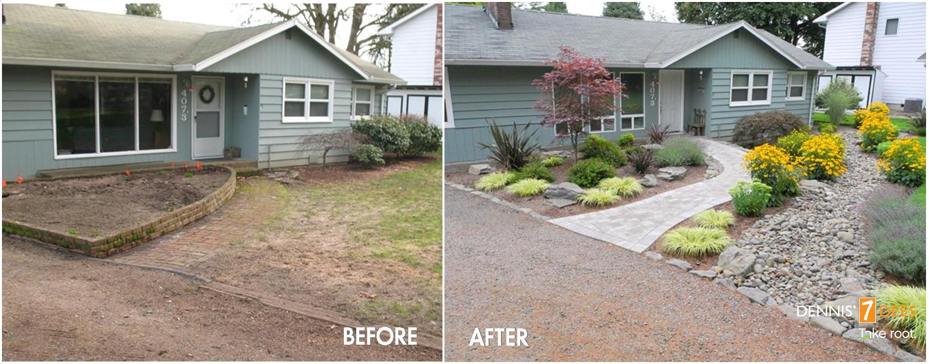 before and after pictures of front yard landscaping